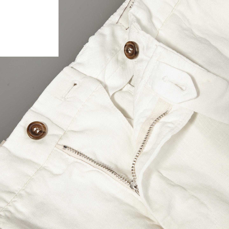 Berwich Off-White Flat Front Linen Trousers Zipper