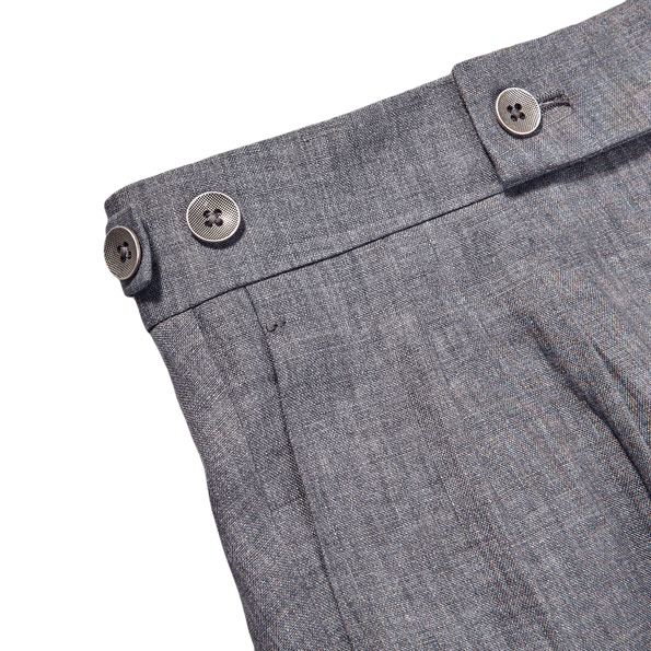 Berwich Smoke Grey Linen Pleated Trousers Edge