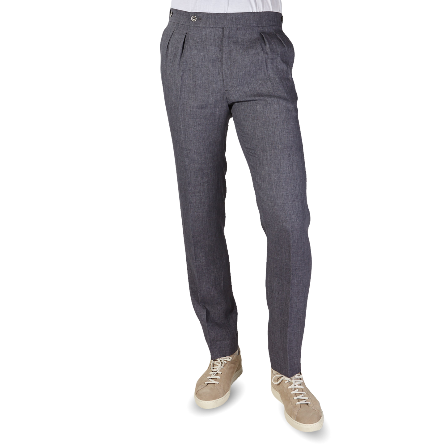 Berwich Smoke Grey Linen Pleated Trousers Front