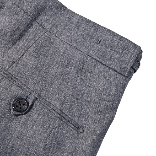 Berwich Smoke Grey Linen Pleated Trousers Pocket