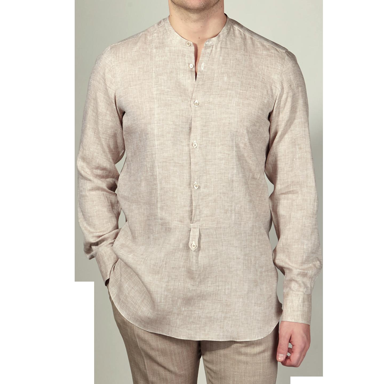 De Petrillio Beige Linen Popover Mandarin Collar Shirt Front