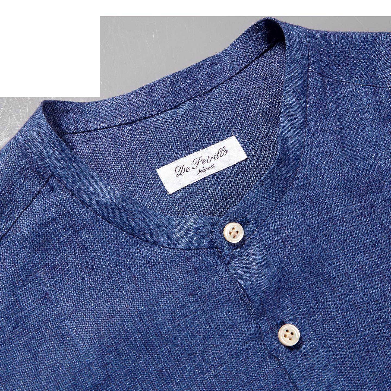 De Petrillio Blue Linen Popover Mandarin Collar Shirt Collar