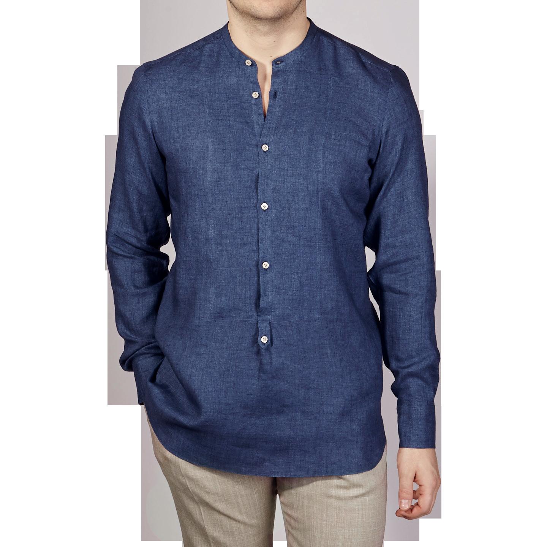 De Petrillio Blue Linen Popover Mandarin Collar Shirt