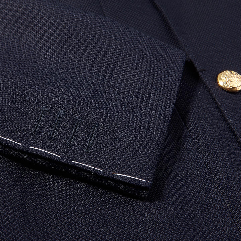 De Petrillio Navy Wool Mohair Double Breasted Club Blazer Cuff