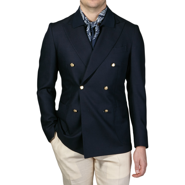 De Petrillio Navy Wool Mohair Double Breasted Club Blazer Front
