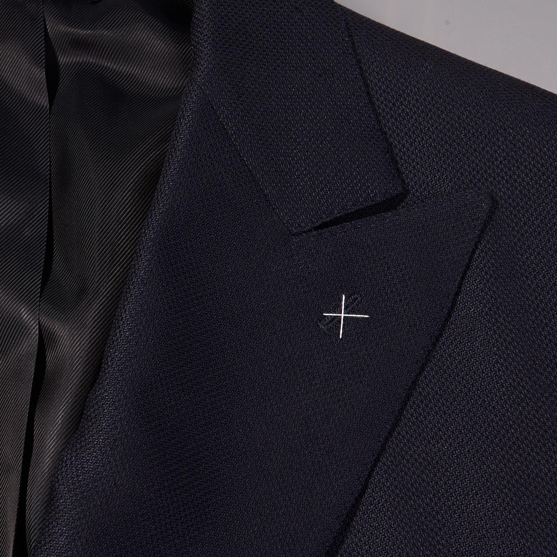 De Petrillio Navy Wool Mohair Double Breasted Club Blazer Collar