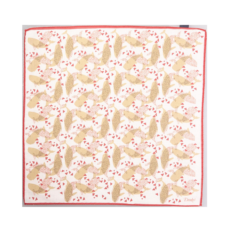 Drake's Cream Cotton Modal Voile Pocket Square Feature
