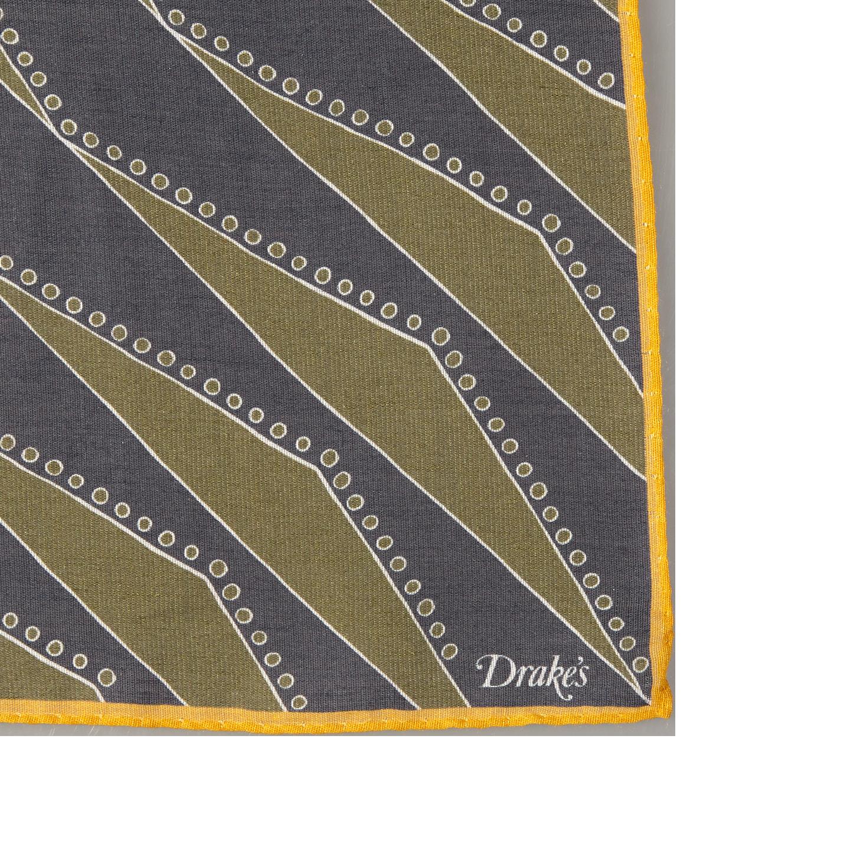 Drake's Navy Cotton Modal Geometric Pocket Square Edge