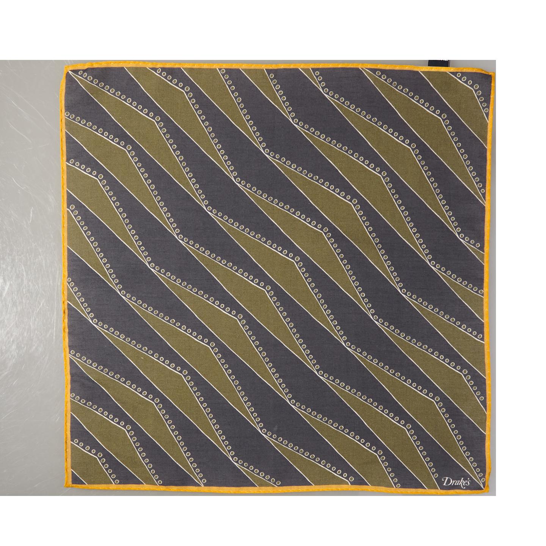 Drake's Navy Cotton Modal Geometric Pocket Square Feature