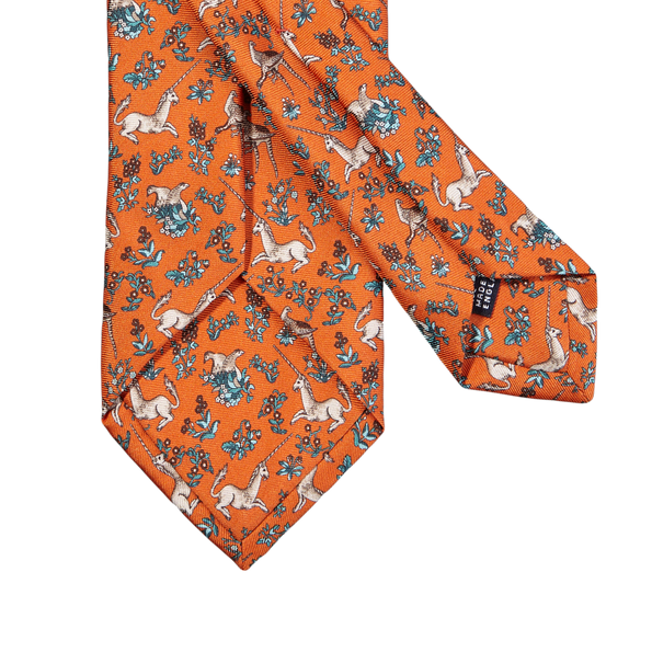 Drake's Orange Unicorn Print Silk Tie Back