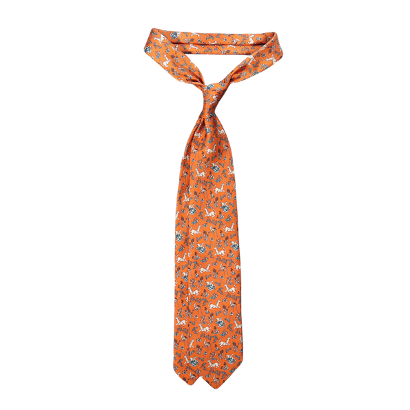 Drake's Orange Unicorn Print Silk Tie Feature