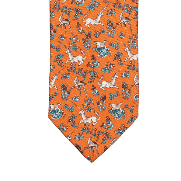Drake's Orange Unicorn Print Silk Tie Tip