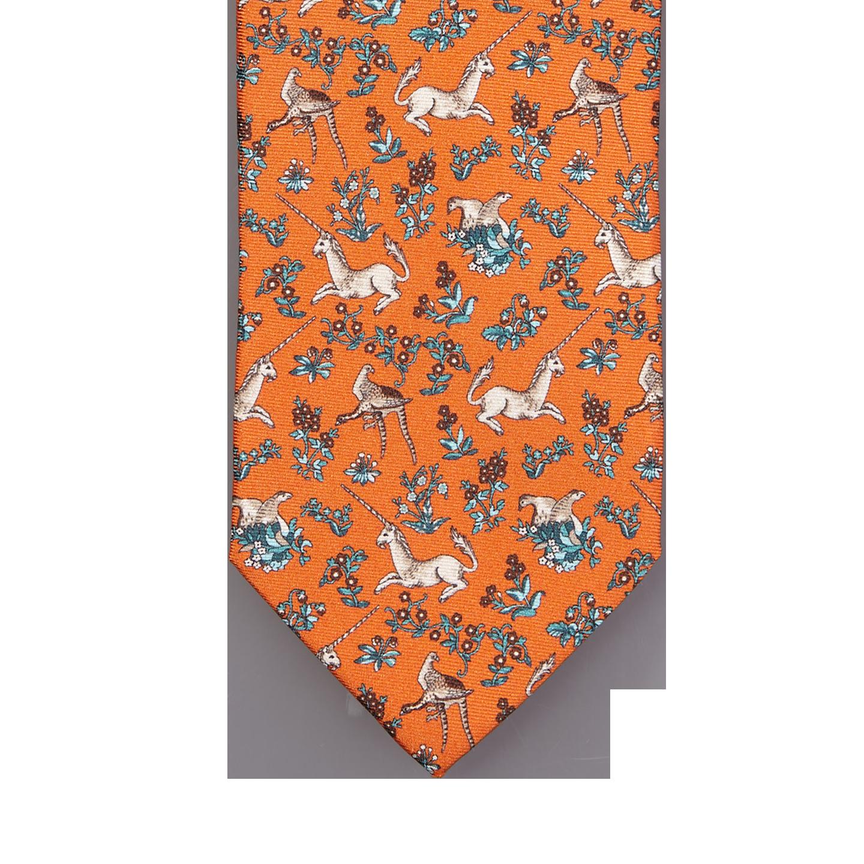 Drake's Orange Unicorn Print Silk Tie Tip