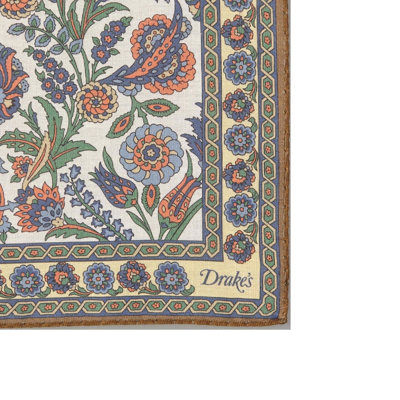 Drake's White Cotton Modal Vintage Floral Pocket Square Edge