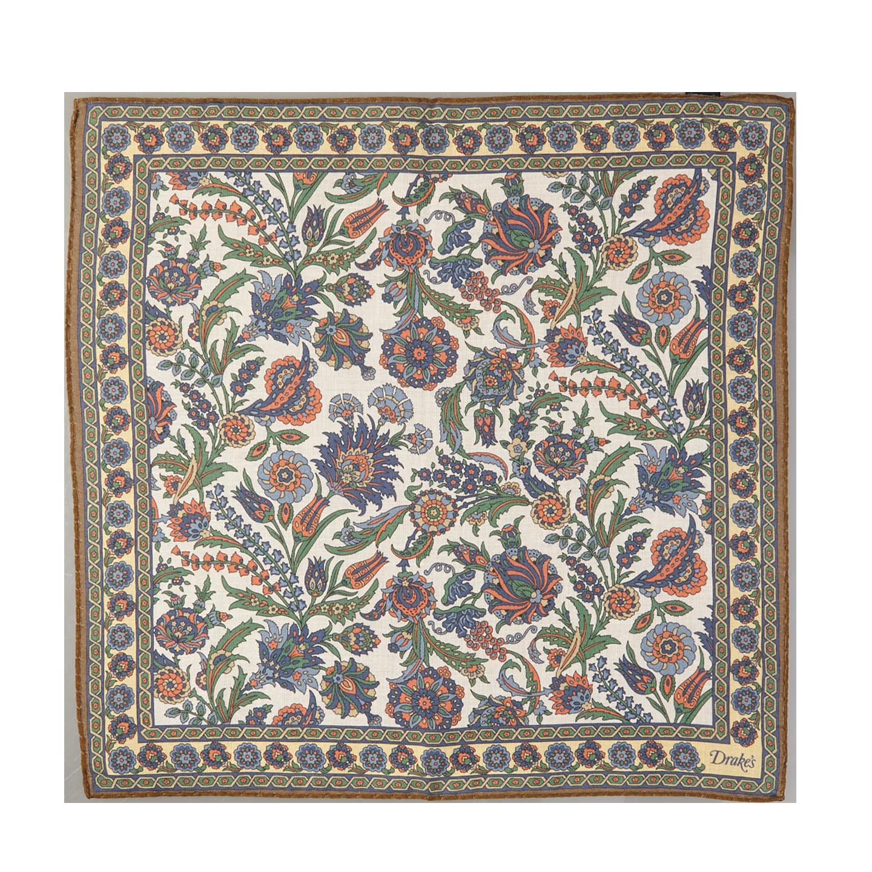 Drake's White Cotton Modal Vintage Floral Pocket Square Feature