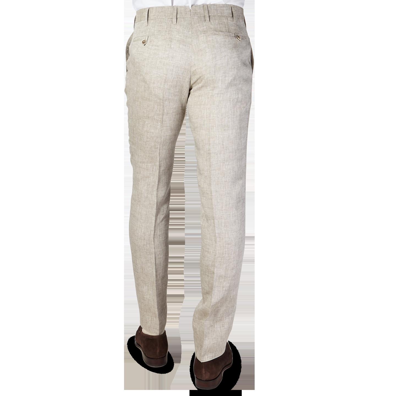 Eduard Dressler Beige Linen Georgia Slim Fit Trousers Back