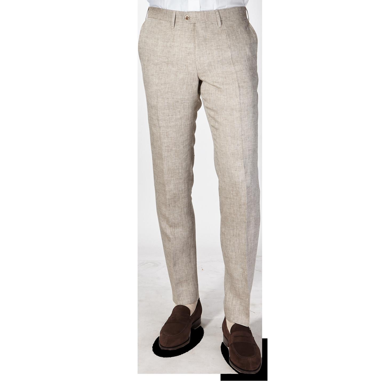 Eduard Dressler Beige Linen Georgia Slim Fit Trousers Front