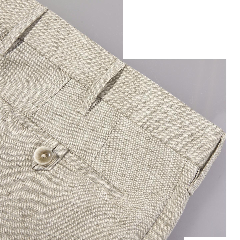 Eduard Dressler Beige Linen Georgia Slim Fit Trousers Pocket
