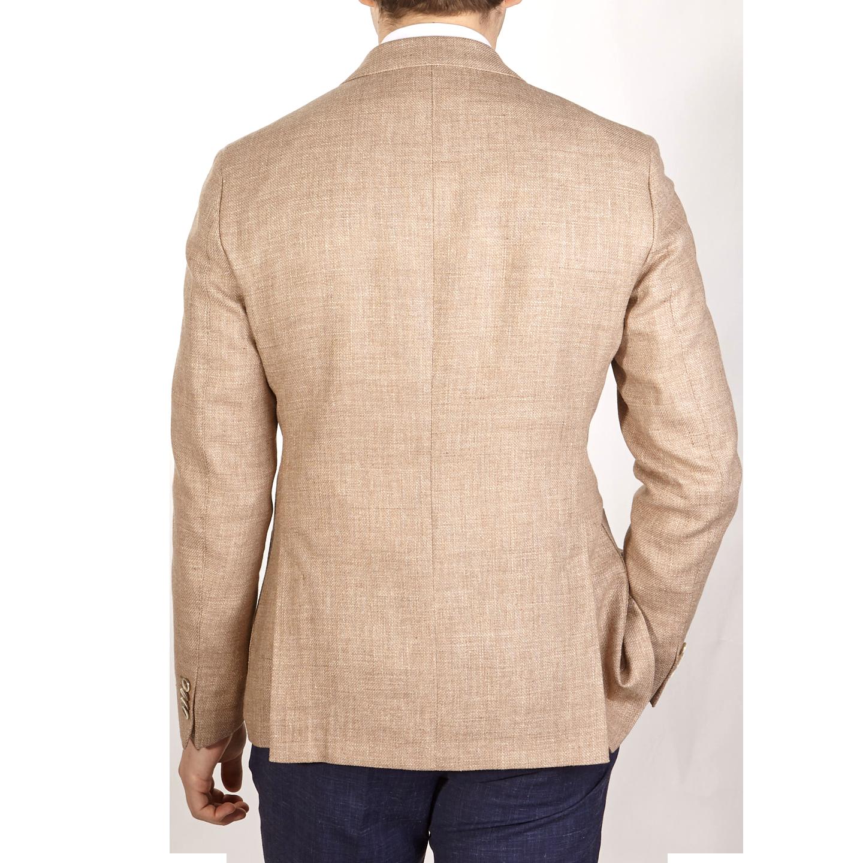 Eduard Dressler Beige Wool Silk Linen Sendrik Blazer Back
