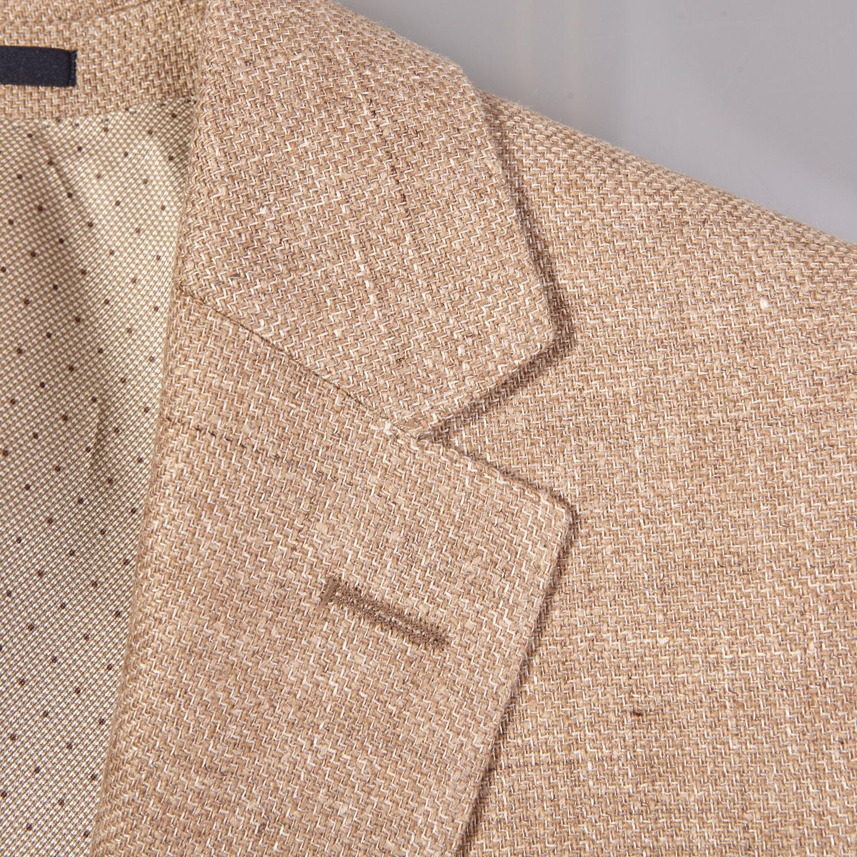 Eduard Dressler Beige Wool Silk Linen Sendrik Blazer Collar