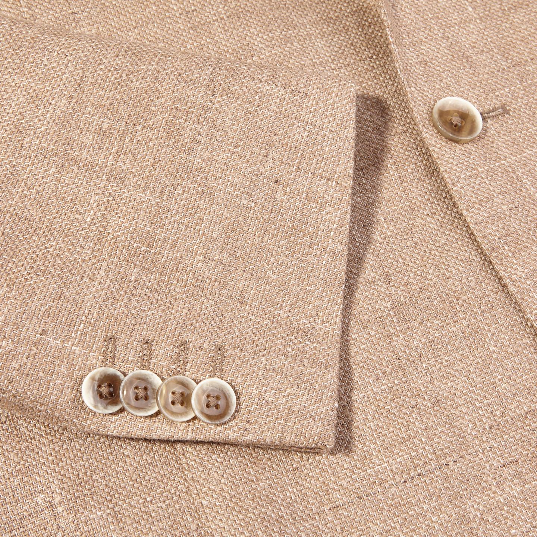 Eduard Dressler Beige Wool Silk Linen Sendrik Blazer Cuff