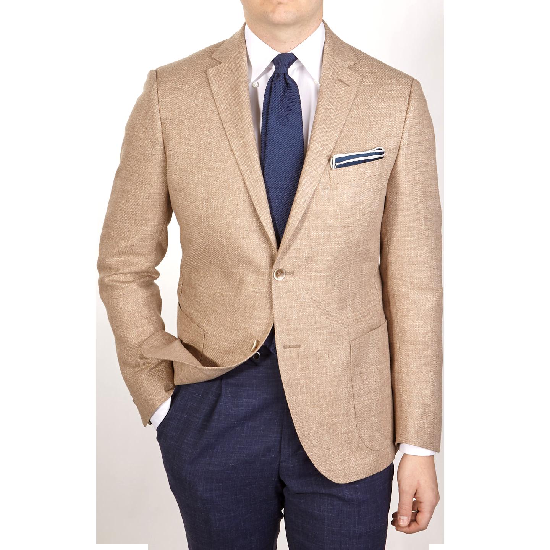 Eduard Dressler Beige Wool Silk Linen Sendrik Blazer Front