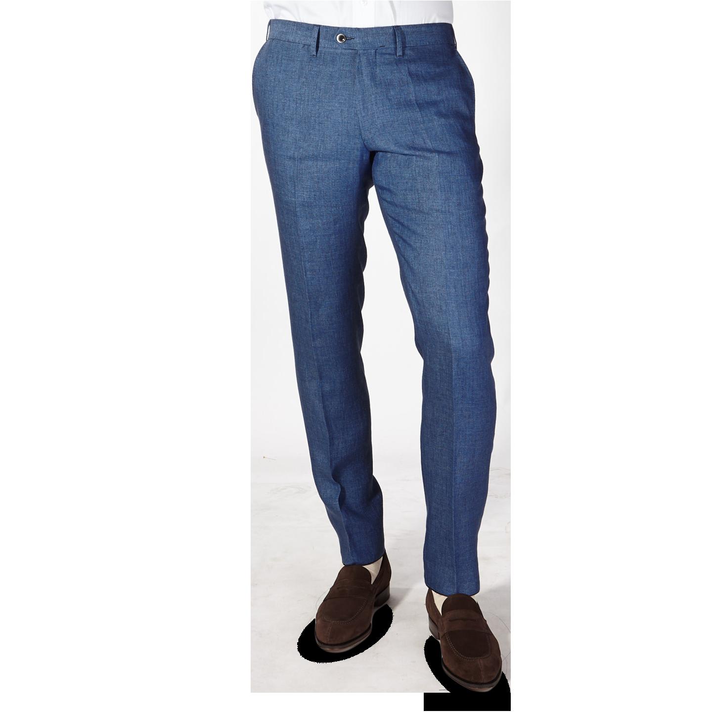Eduard Dressler Blue Linen Georgia Slim Fit Trousers Front