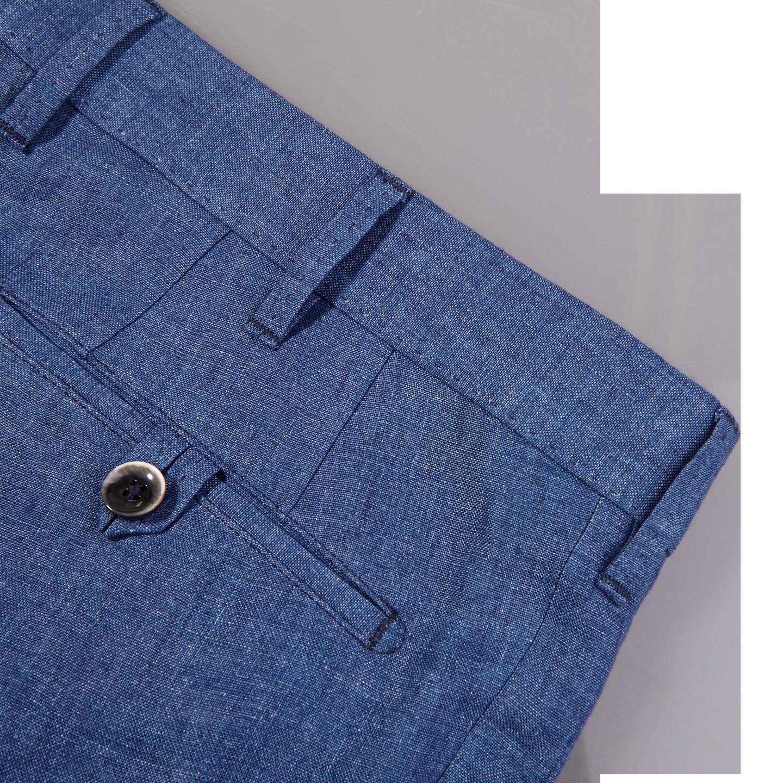 Eduard Dressler Blue Linen Georgia Slim Fit Trousers Back Pocket