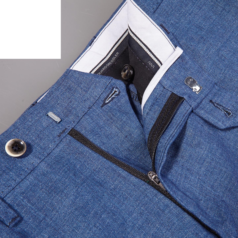 Eduard Dressler Blue Linen Georgia Slim Fit Trousers Back Zipper