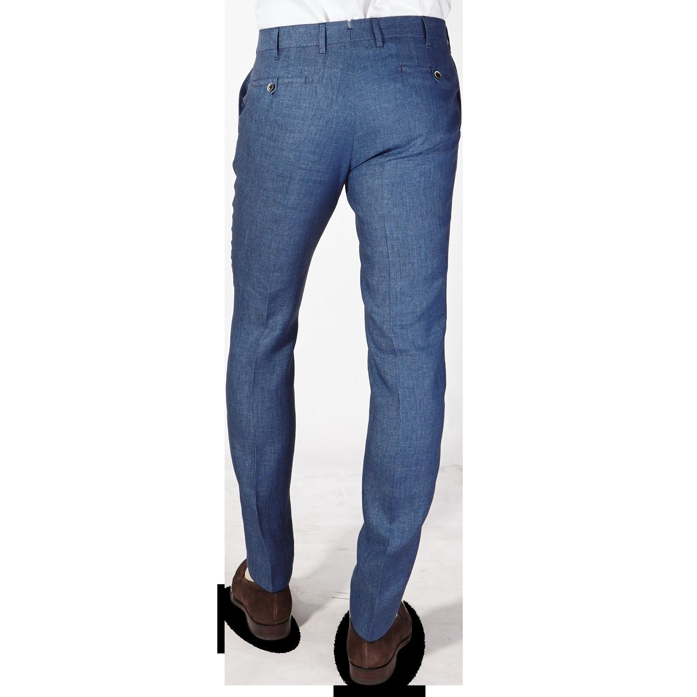 Eduard Dressler Blue Linen Georgia Slim Fit Trousers Back