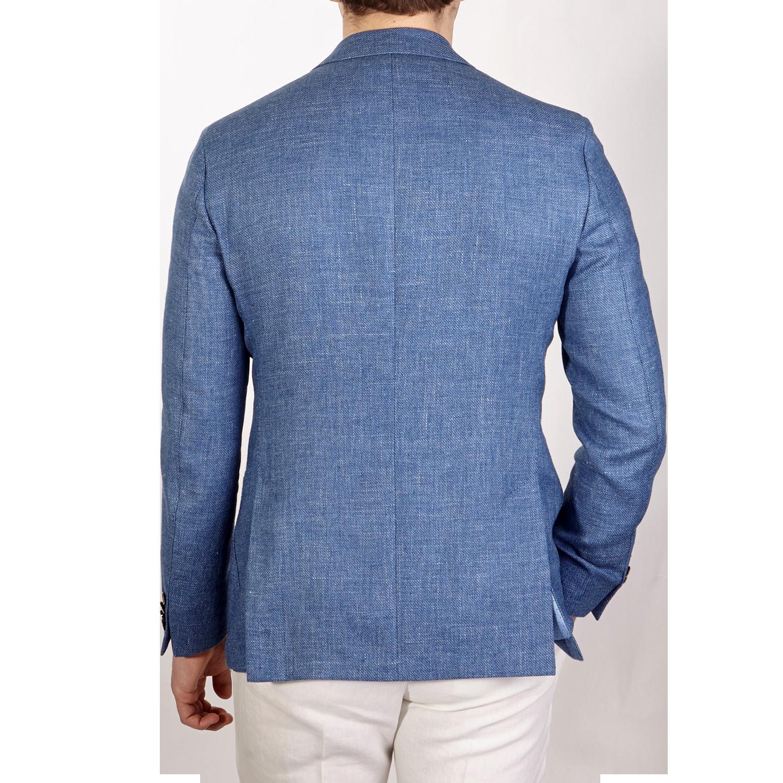 Eduard Dressler Blue Wool Silk Linen Sendrik Blazer Back