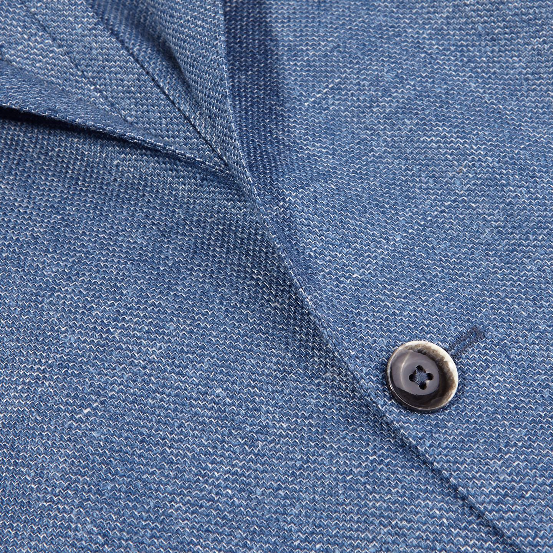 Eduard Dressler Blue Wool Silk Linen Sendrik Blazer Closed