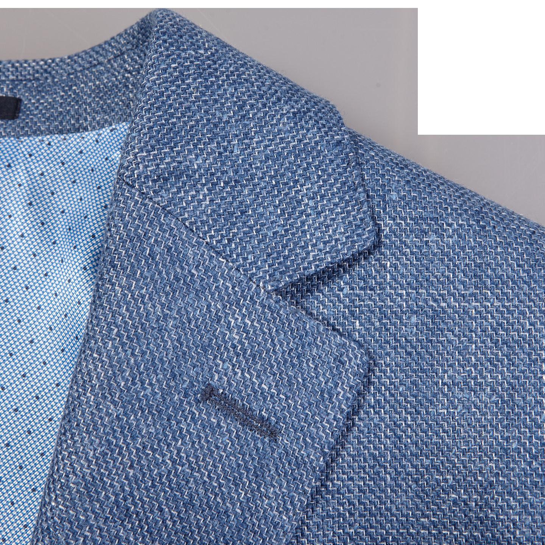 Eduard Dressler Blue Wool Silk Linen Sendrik Blazer Collar