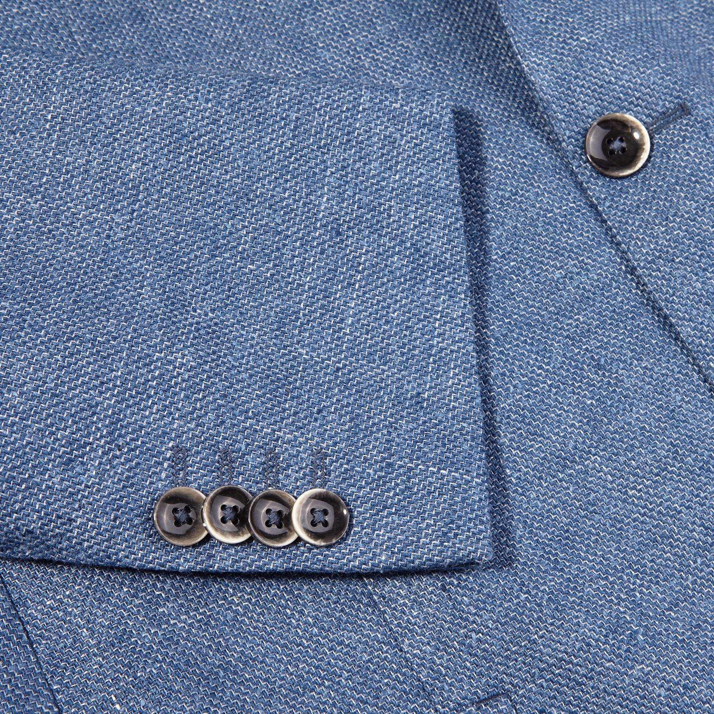 Eduard Dressler Blue Wool Silk Linen Sendrik Blazer Cuff