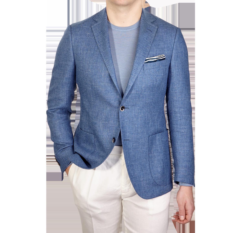 Eduard Dressler Blue Wool Silk Linen Sendrik Blazer Front