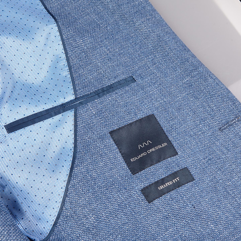 Eduard Dressler Blue Wool Silk Linen Sendrik Blazer Inside
