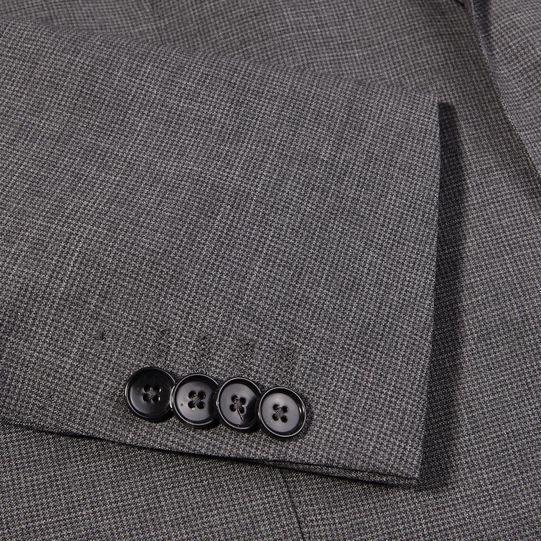 Eduard Dressler Grey Micro Houndstooth Wool Suit Cuff