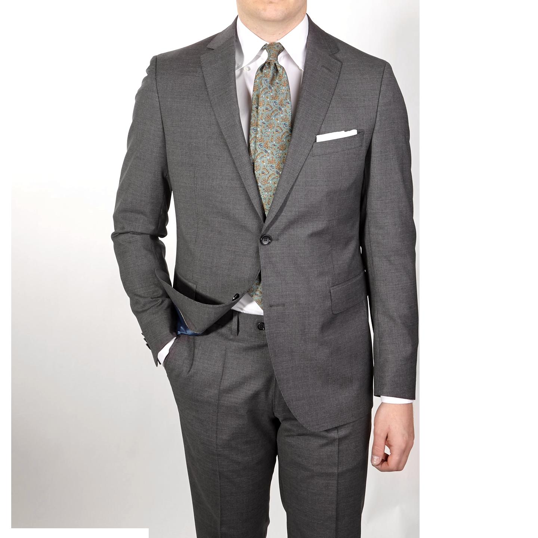 Eduard Dressler Grey Micro Houndstooth Wool Suit Front