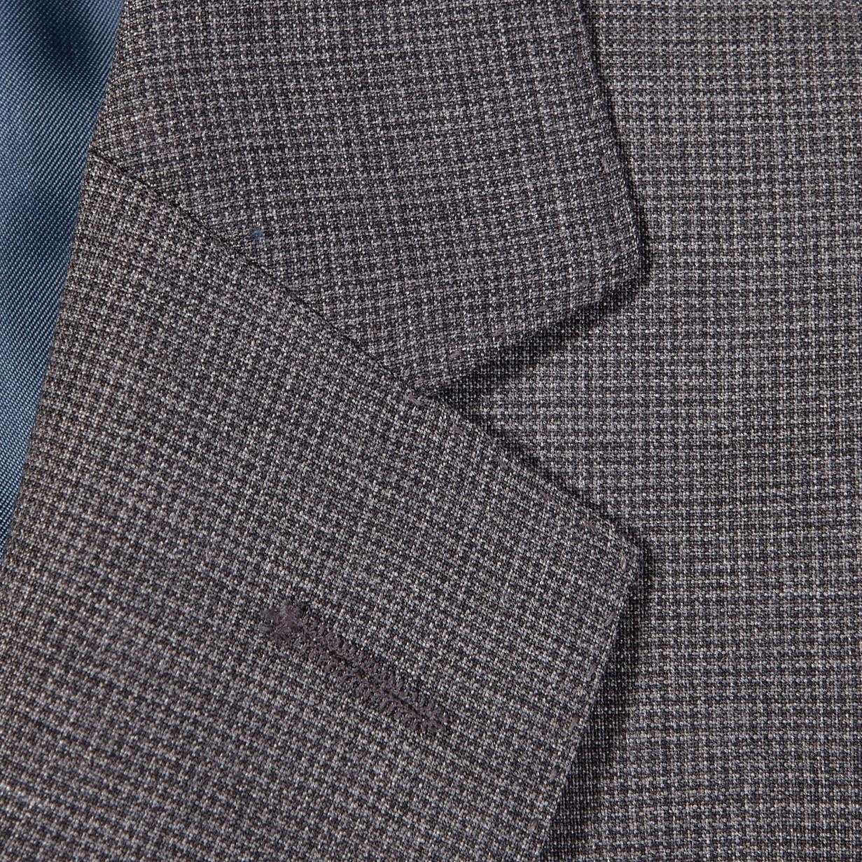 Eduard Dressler Grey Micro Houndstooth Wool Suit Lapel