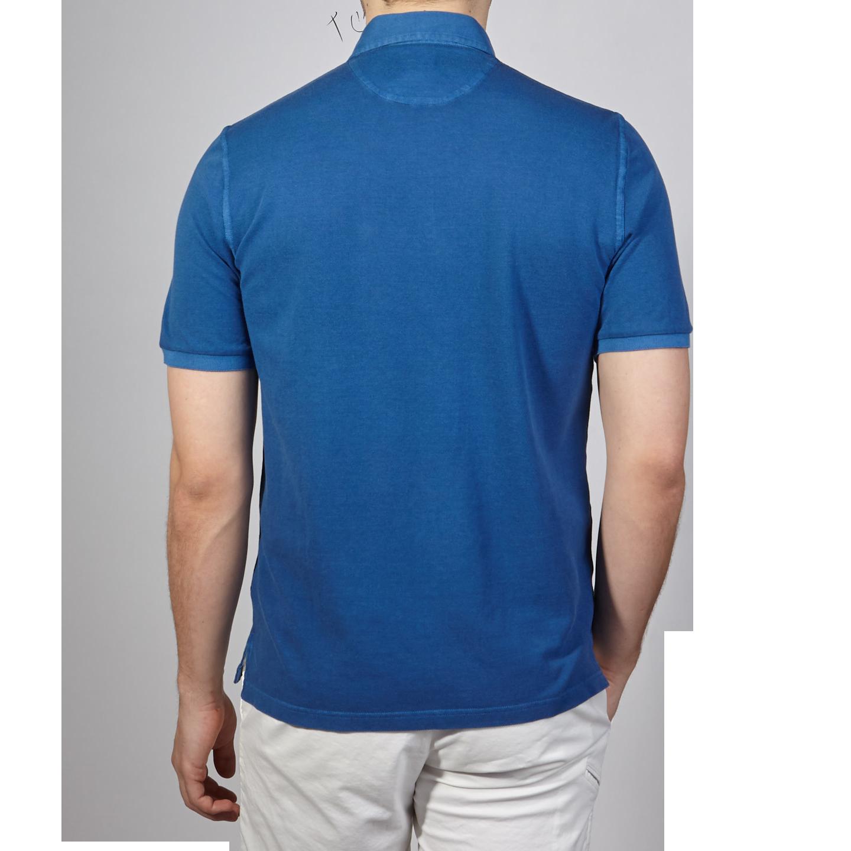 Fedeli Blue Cotton Pique Polo Back