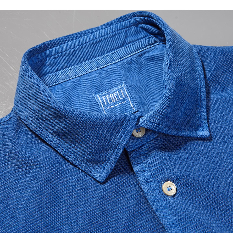 Fedeli Blue Cotton Pique Polo Collar
