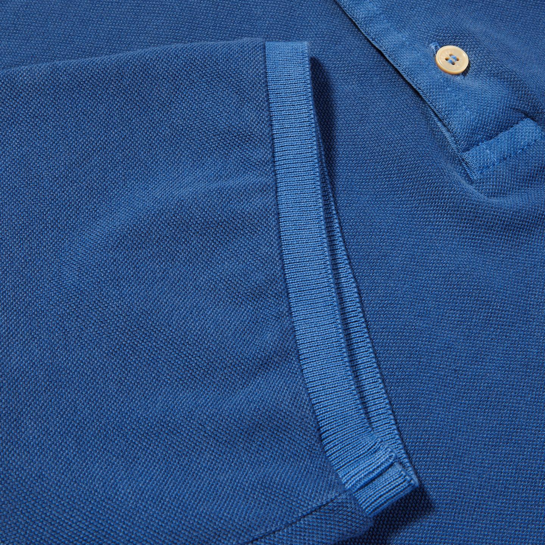Fedeli Blue Cotton Pique Polo Cuff