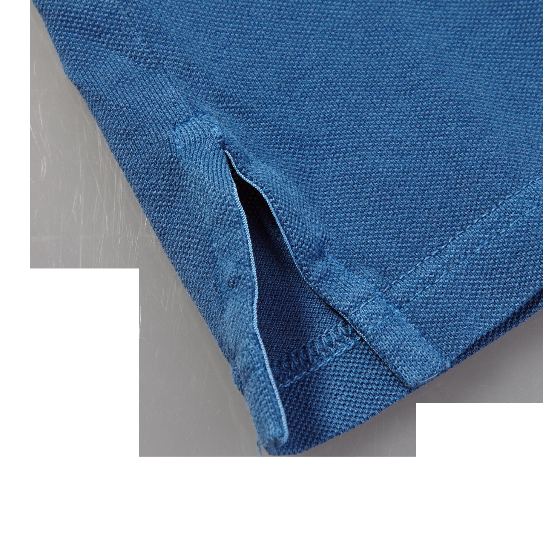 Fedeli Blue Cotton Pique Polo Edge