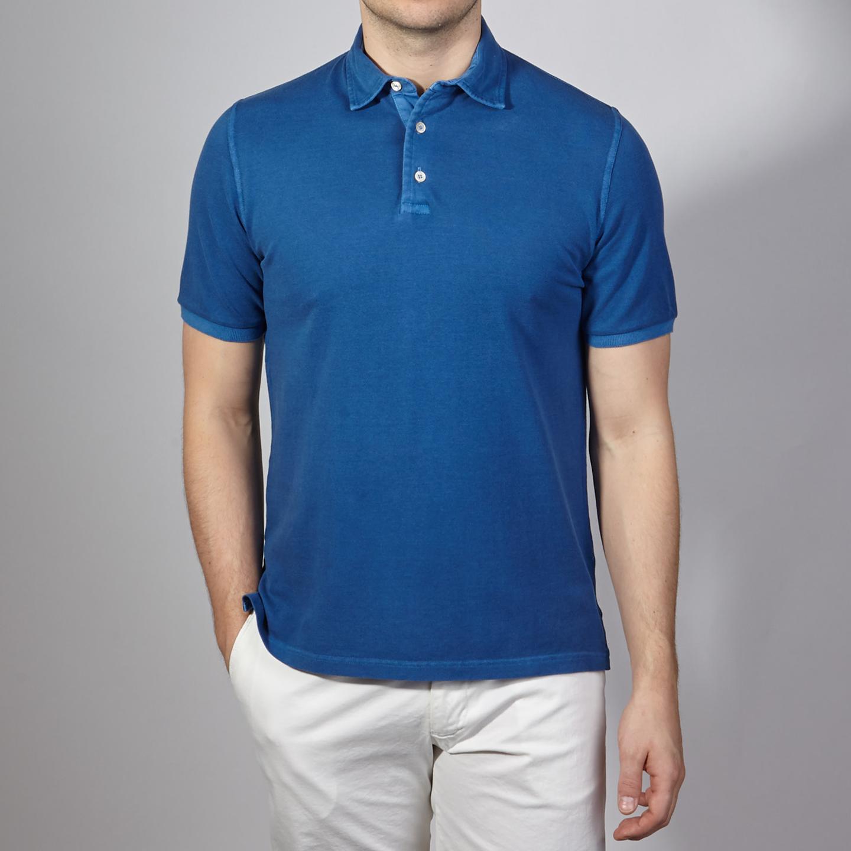 Fedeli Blue Cotton Pique Polo Front