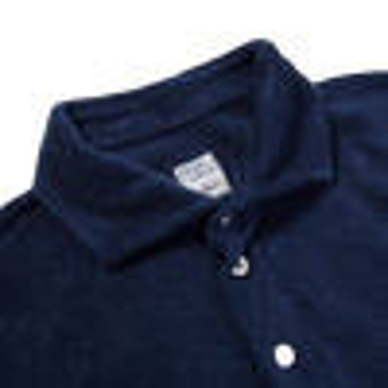 Fedeli Blue Terry Cloth Polo Shirt Collar