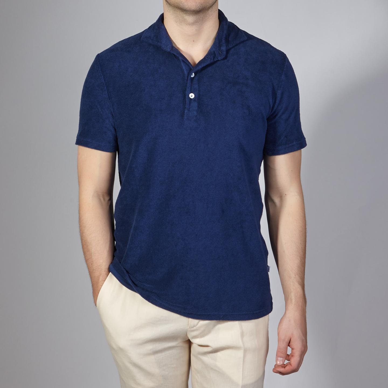 Fedeli Blue Terry Cloth Polo Shirt Front