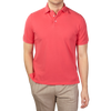 Fedeli Coral Cotton Pique Polo Front