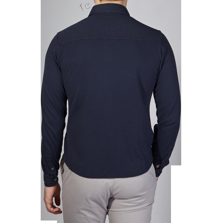 Fedeli Navy Cotton Pique Shirt Back