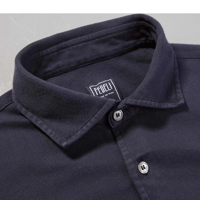 Fedeli Navy Cotton Pique Shirt Collar