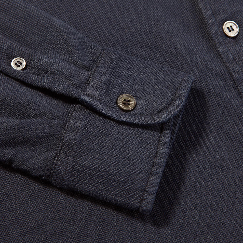 Fedeli Navy Cotton Pique Shirt Cuff